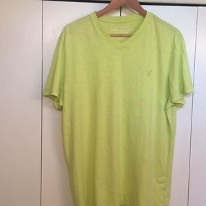American Eagle Athletic Fit Lime Green V- Neck Tee